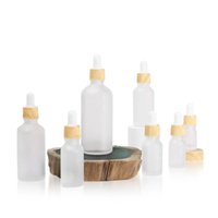 플라스틱 나무 곡물 캡 서리 낀 에센스 포장 병 4 ml 10ml 15ml 20 ml 30ml 50ml 100ml dropper 컨테이너 화장품 에센셜 오일