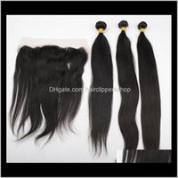 Closure Remy & Virgin Productslace Frontals With Brazilian 3 Bundles Straight Wave Human Weave Unprocessed Indian Malaysian Peruvian Hair Ex