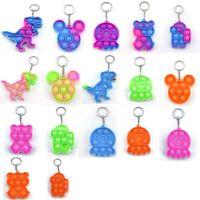 PUSH POP BURBUCE Fidget Toys Party Favor de la fiesta Anillo de llaves Sensor Dibujos Animados Simple Dimple Joyería Llavero Llavero Regalo para Niños Adultos Estrés Keychain
