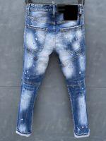 Designer Hommes DSQ Jean Blue Hole Laver Jeans droit Europe et Amérique Casual Slim Logo Pant Pant Élasticité Fashion Trend Pantalon