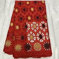 5 mètres Tissu de dentelle suisse 2021 Dernièresttes de broderie Tissus de coton secs africains de style de Dubaï pour les robes! Tl40820