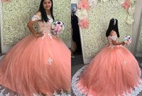 Elegant Coral and White Lace 2022 Quinceanera Dresses Off the shoulder Ball Gown with Sleeves Corset Tulle Sweet 15 16 Charra Prom Evening Formal Party Dress