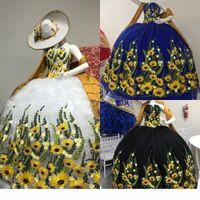 Vintage Vestidos De Quinceanera Dresses Floral Sunflower Lace Pleated Strapless Tulle Quinceanera Dress Charro Plus Size Ball Gowns Prom