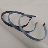 10pcs 10mm 데님 블루 패브릭 덮여 금속 머리띠 밑단 DIY 쥬얼리 헤어 후프에 대 한 일반 밴드