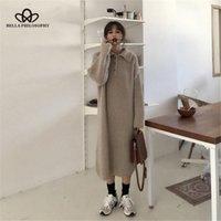 캐주얼 드레스 철학 여성 가을 겨울 니트 드레스 빈티지 느슨한 여성 스웨터 레이디 따뜻한 긴 긴 맥시 vestidos