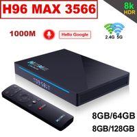 8 جيجابايت 128 جيجابايت مربع التلفزيون الروبوت 11.0 H96 ماكس RK3566 مشغل الوسائط الذكية STB مع BT Google صوت التحكم عن بعد 8 جرام 64 جرام 2.4 جرام / 5 جرام المزدوج واي فاي 1000 متر 3d 8k الرئيسية الفيديو H96MAX TVBOM