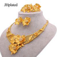 Set di gioielli Dubai 24K placcato oro lusso africano di lusso regali di nozze braccialetto da sposa orecchini anello anello gioielli set per le donne