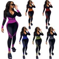 Tracksuits Lucky Label 2 Piece Набор для женщин V шеи на молнии верхние леггинсы растягивают BodyCon Jogger Outfit Street спортивная одежда