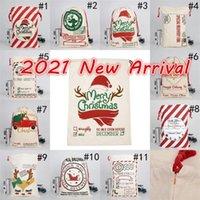 Em estoque 2021 Natal Santa Sacks Canvas Algodão Bags Grandes Sacos de Presente de Cordão Pesado Personalizado Festival Party Christmas Decoração