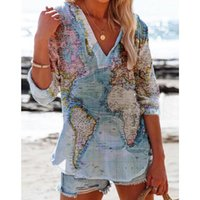 Women's Blouses & Shirts Lapel BUTTON SHIRT Printed Long Sleeve Loose Casual Positioning V-neck