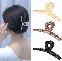 Elegant Celebrity Style Pearl Cross Hair Clips Long Hairs Back Head Grab Korean Fashion Hairpin For Woman