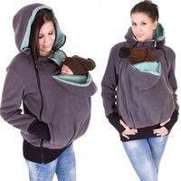 Baby Carrier Jacket Kangaroo Designer Outerwear Sudaderas con capucha Otoño Fleece Sudadera Sudadera Capa con cremallera para mujeres embarazadas Pantería de mascota Bolsa con capucha Abrigos S-3XL