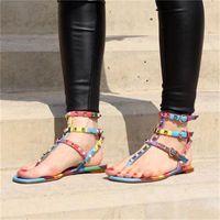 Vendita calda-IATOR sandali piatti pietre pietre stirata flip sandalo grande dimensioni designer scarpe da donna scarpe da donna estate # 9025