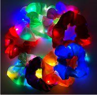LED-LED-Darm-Haar-Party-Ins Leuchtkörper-Kopfschmuck drei Zahnräder glänzend Seil Net Red Nachtclub Bungee-Farb-Lampe Gummiband-weibliches Zubehör