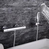 핸드 헬드, 황동 및 차가운 목욕 수도꼭지, 폭포 수도꼭지 샤워 세트가있는 욕실 자동 온도 조절 밸브 욕조 수도꼭지
