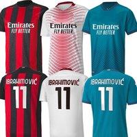 4xl AC Soccer Milan Jerseys 2021 Ibrahimovic Tonali Mandzukic Kessie Hombres Kits Kits Fútbol Inicio de Fútbol Alejado Tercera entrenamiento Camisas XXXL XXXXL 3XL