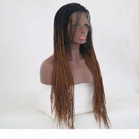 Ombretto intrecciato in pizzo parrucche anteriori in pizzo per donne nere marrone radice scuro lungo afro twist parrucche a treccia in treccia a testa piena hembre ombrello marrone parrucca in pizzo sintetico marrone