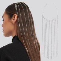 Tam Rhinestone Uzun Püskül Kristal Kafa Bandı Başlığı Kadınlar Bijoux Saç Hoop Başkanı Zincir Aksesuarları Düğün Hairband Parti Takı Hediye