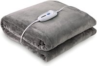"""Large Electric Heated Flannel Blanket Twin Size 62"""" x 84"""" with 4 Heating Levels & 10 Hours Auto-Off & Overheating Protection"""