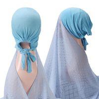 Ethnic Clothing Instant Hijabs Women Pompom Chiffon Shawl Head Scarf Underscarf Cap Islam Inner Headband Stretch Hijab Cover Headwrap