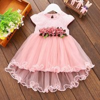 2021 Summer elegant Girls Dress Ribbon Classic child baby Lace Net yarn Prom skirt short Sleeve Patchwork Princess Dresses Infant Birthday gift children Clothes
