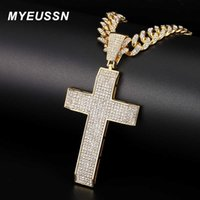 MYEUSSN Cross Pendant For Men Jewellery Christian Iced Out Big Cross Necklace Gold Color Charm Cuban Chain With Cross Women Gift H0918
