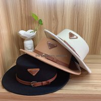 Fashion Designers woolen fedora hats inverted triangle cap flat top hat Autumn winter female net red high-end ladies luxury Letter Breathability felt hat