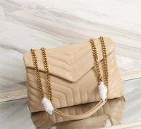 حقيبة يد نسائية حقيبة ساحة الدهون لولو سلسلة جلد حقيقي إمرأة سعة كبيرة الكتف جودة عالية حقائب رسول مبطن