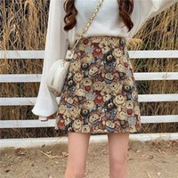 Spring Summer A Line Women Skirt Japanese Style Sweet Cute Loose Oversize Bear Print Female Mini Skirts Short