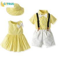 Clothing Sets Kid Suit Girl Cute Plaid Dress Hat Boy Handsome Overalls Parent-Child Children Summer Wear Family Vacation