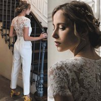 Lace Applique Jumpsuits Wedding Dress for Women 2022 Custom Made V Neck country Elegant Ivory Pants for Weddings Robe De Mariee