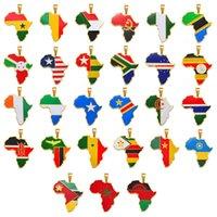 Ожерелья Подвески Anniyo Хип-хоп Африка Карта Ожерелье Ювелирные Изделия Гана Нигерия Конго Судан Сомали Уганда Зимбабве Замбия Либерия # 207921