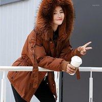 Novas mulheres inverno jaqueta curto mujer com capuz parkas inverno casaco mulheres soltas parka pele coleira de algodão acolchoado jaquetas y1206101