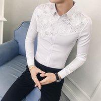 Men's Dress Shirts Masculina Camisa 2021 Autumn Sexy Lace Patchwork Print Shirt Fashion Long Sleeve Club Tuxedo
