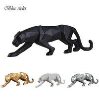 4 لون الحديثة مجردة أسود / أبيض هندسي ليوبارد تمثال سطح الراتنج النمر الحرف النحت ديكور المنزل الحيوان تمثال q0525