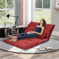 Ajustável dobrável moderno sofá lazer cama pequena sala de estar da família simples jogo de vídeo com dois travesseiros vermelhos