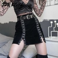 skirts Y2K EGIRL Mall Goth Buckles Slit A-line Mini Punk Aesthetics High Waist Velvet Skirts Cyber Gothic Outfits Black Bottoms