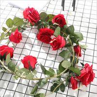 180cm / lote Rosas de seda artificiais Rattan Ivy videira com folhas verdes para decoração de casamento em casa DIY pendurado guirlanda flores flores decorativas