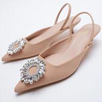 Zapatos de vestir Yue Jabon 2021 Punta de mujer Punto de punta baja Nude Rosa Diamante Bajo Tacón de espalda Mujeres Straphy