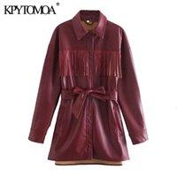 KPYTOMOA Kadınlar 2021 Moda Kemer ile Püskül Faux Deri Gevşek Ceket Kaban Vintage Uzun Kollu Cep Kadın Giyim Şık Top