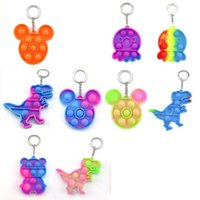 Fidget Toys its key Chain Favor designer Dinosaur Car Square Push Poo Bubble Cartoon Dimple Rainbow toy Keychain Stress Reliever