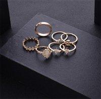 Vintage Star Opal Crystal Finger Rings Set 13 Stks Bohemian Gold Moon Crown Knuckle Rings Dames Strand Bruiloft Sieraden Accessoires 55 J2