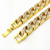 Men Luxury Gold Color 15mm Iced Out Full Rhinestones Crystal Fashion Necklaces High Quality Miami Cuban Link Chain Hiphop Choker Chains