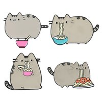 Creative Cartoon Design Brooch set Fat Cat Eat Nooodle Gun Black ECO Enamel Pins Alloy Brooches for Girls Gift Jewelry Badges Bag 1597 Q2