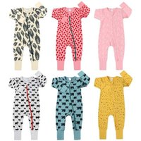 Spring Long Sleeve Animals Print Baby Boys Girls Rompers Cotton Jumpsuits Kids Clothes Climb Suits Suttont Zipper Nightclothes 211008