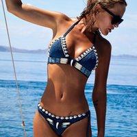 Sexy Blue Shell Beiced Бикинис Установить ручной работы вязание крючком Высокое качество Купальники Женщины Push Up Купальники вязаный пляж Носить Купающийся костюм 934 Z2