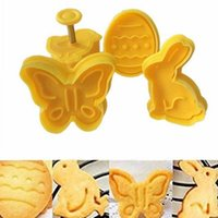 4pcs 3D Spring Cookie Biscotto Stampo torta Butterfly Easter Egg Shape Sfort Plastic Cutter Biscuit Anelli