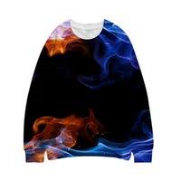 남성용 후드 스웨터 2021 봄과 가을, 남성용 라운드 넥 스웨터 3D 인쇄 풀오버 스포츠웨어 긴 소매 캐주얼 불꽃 LCO