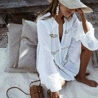 Casual Dresses White Summer Women Beach Dress 2021 Long Sleeve Shirt Holiday Hollow Out Sexy Sundress Vestidos