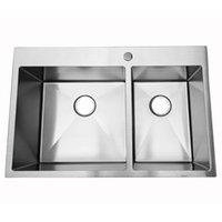 WACO 33 بوصة بالوعة المطبخ، وعاء مزدوج، 16 مقياس الفولاذ المقاوم للصدأ قطرة في حوض مطابخ Topmount